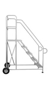 Baby ladder It is mounted on four polymer wheeler M.S trolley & also available with aluminium trolley. It is provided with broad steps sizes available from 5ft to 14ft.  HT NO. 108